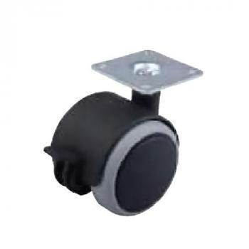 Fotelgörgő gumis 50mm talppal fékkel fekete